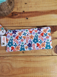Floral pencil case, white with multi-colour flowers