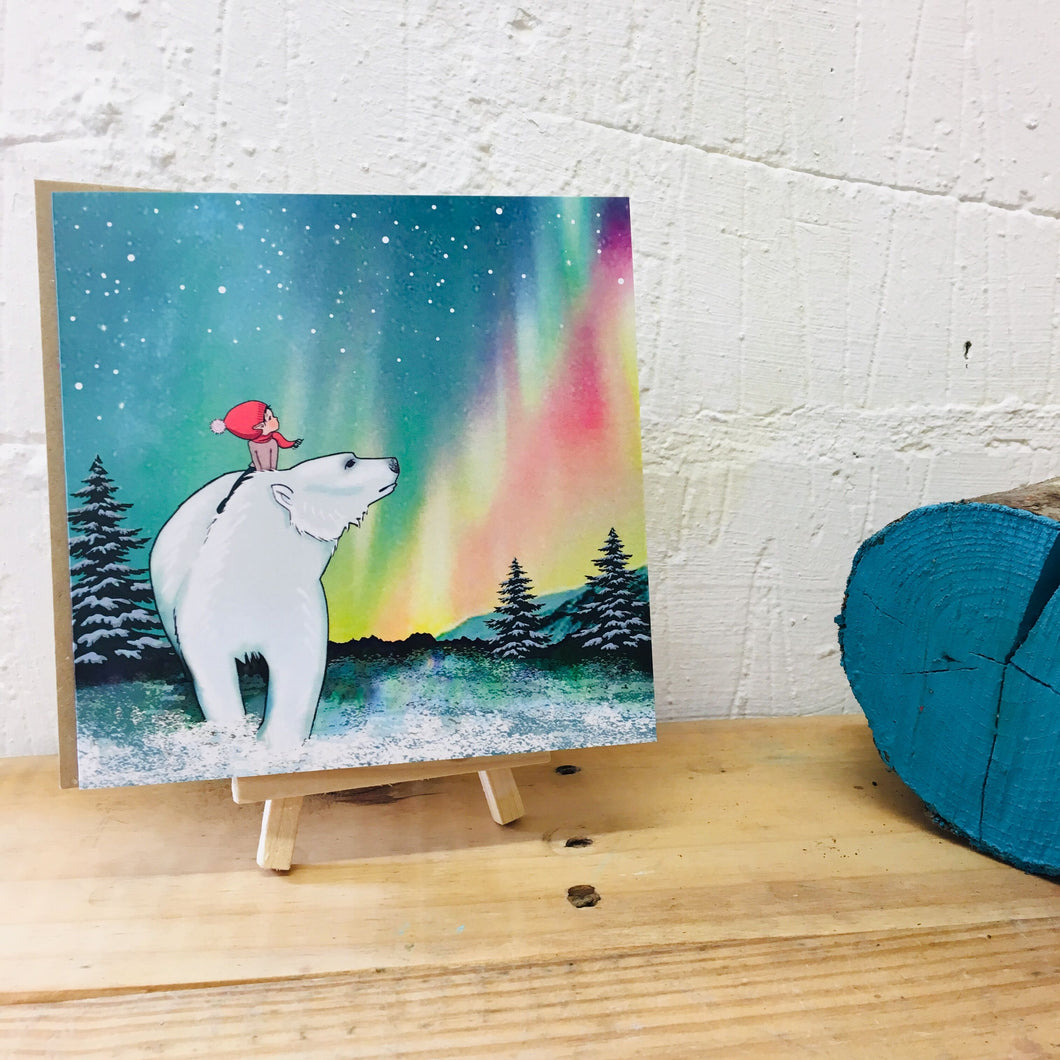Polar bear northern lights card
