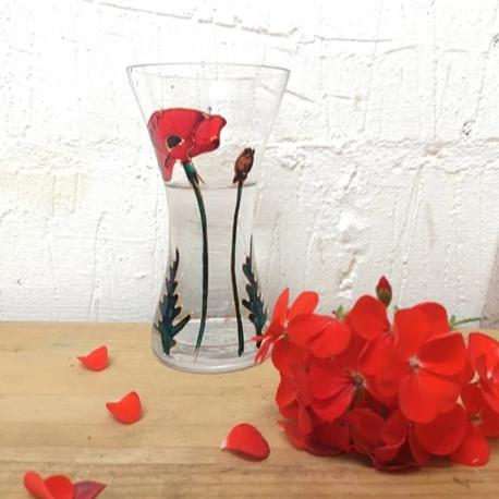 Hand painted Poppy posy vase