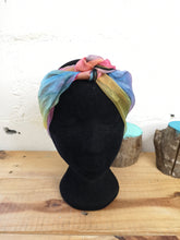 Load image into Gallery viewer, Rainbow Chiffon Square Headscarf Black Trim