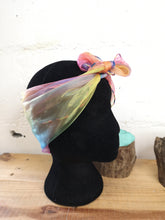 Load image into Gallery viewer, Rainbow Chiffon Square Headscarf Rainbow Trim