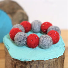 Load image into Gallery viewer, red and grey wool felt ball bracelet