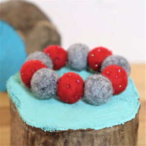 red and grey wool felt ball bracelet
