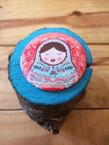 Russian doll original illustration pocket mirror