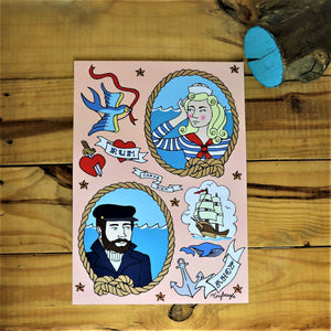 Sailor girl and boy vintage nautical print