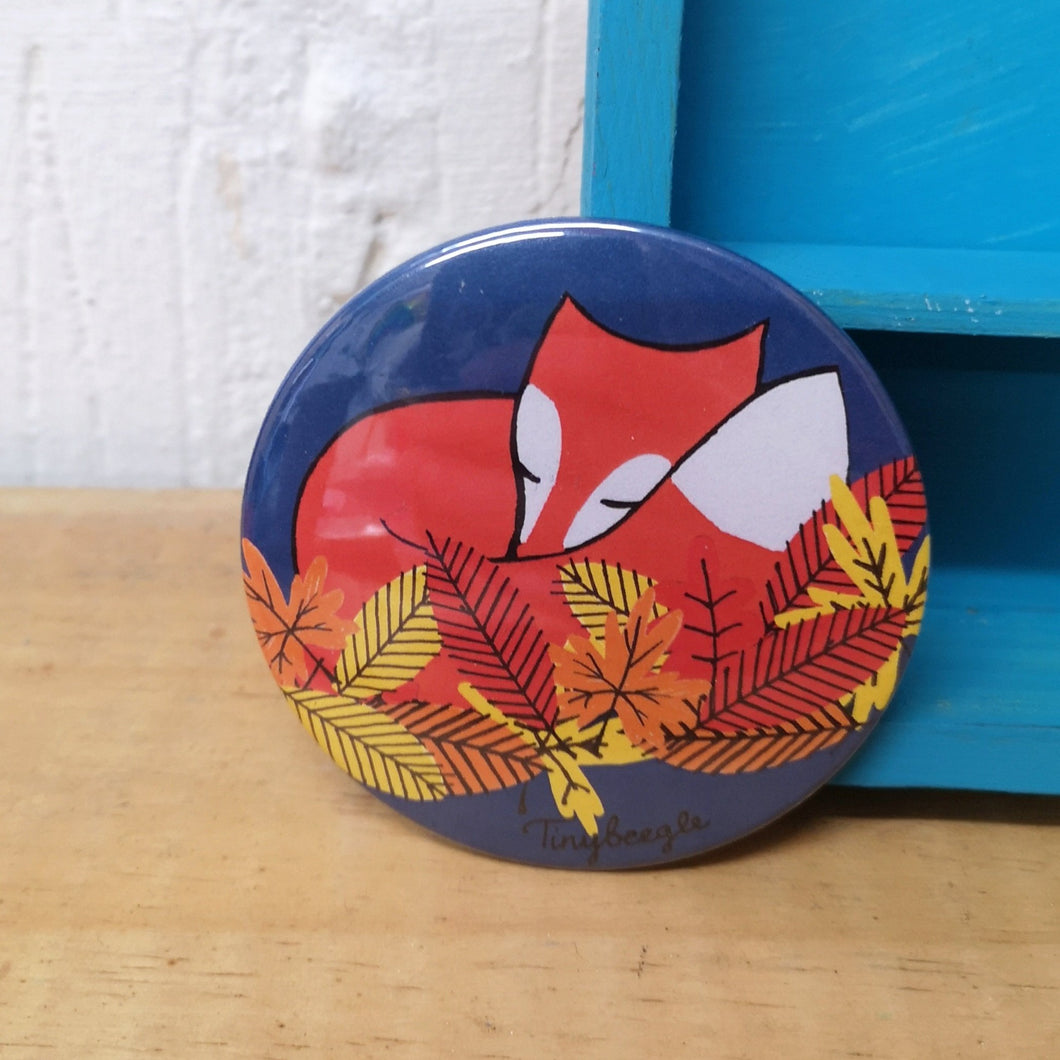 Sleeping Fox original illustration pocket mirror