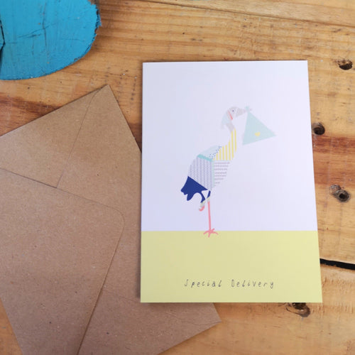 Stork and Baby Greetings Card