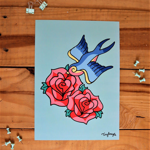 Swallow and Rose A4 print
