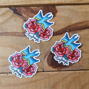Swallow and rose sticker