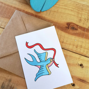 Swallow tattoo greetings card