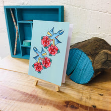 Load image into Gallery viewer, Swallows and roses greetings card