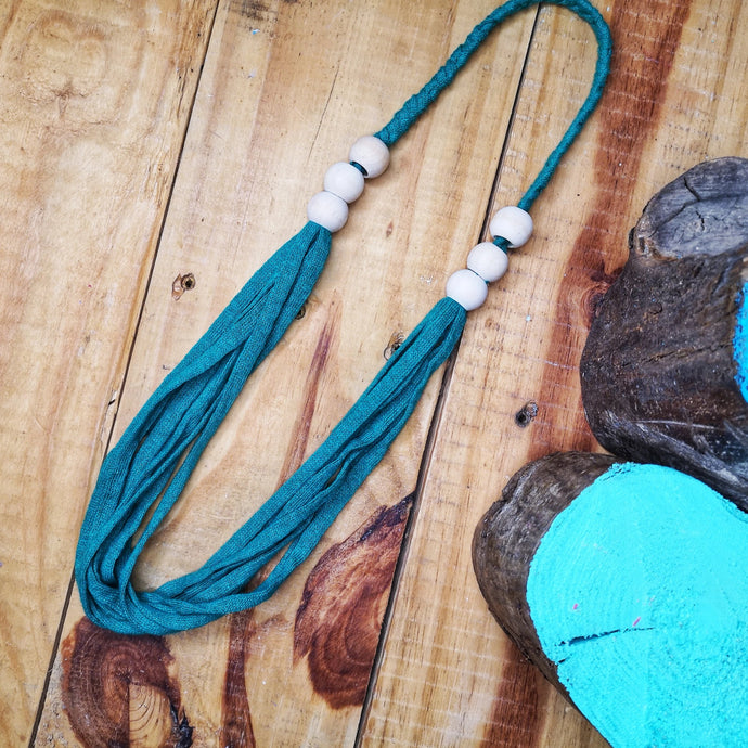 Multi-strand statement necklace in lush green,  made from recycled t-shirt yarn