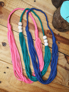 Multi-strand statement necklace in super pink,  made from recycled t-shirt yarn