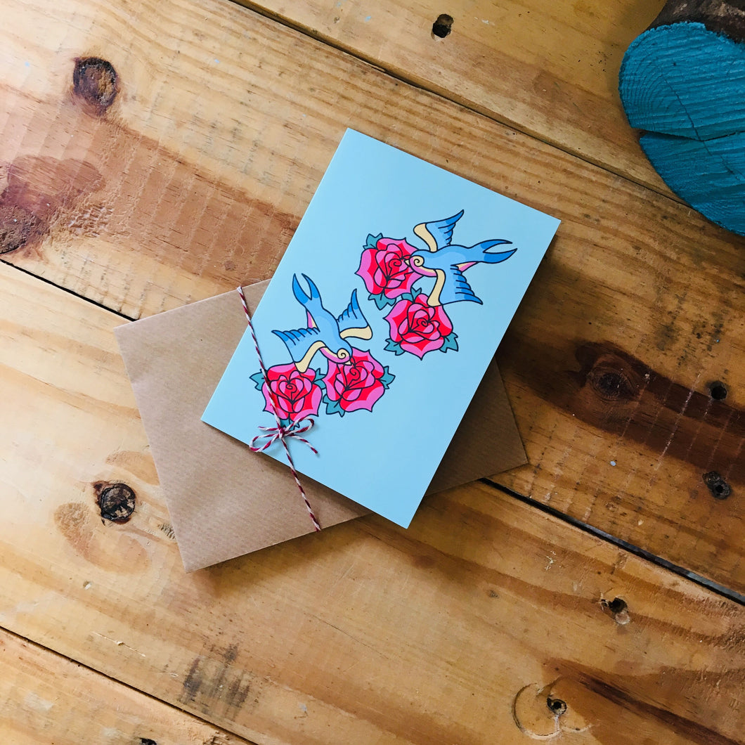 Swallows and roses greetings card