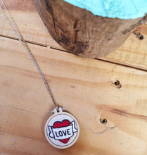 Load image into Gallery viewer, Love heart and scroll tattoo hand embroidered necklace