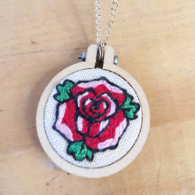 Load image into Gallery viewer, Tattoo rose hand embroidered necklace