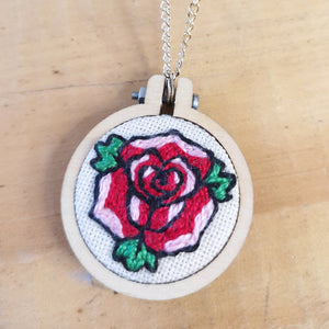 Tattoo rose hand embroidered necklace