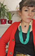 Load image into Gallery viewer, Multi-strand statement necklace in lush green,  made from recycled t-shirt yarn