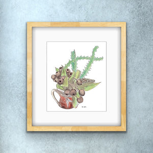 5x7 Framed Print - Gumnuts and Banksia