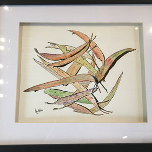 Scattered Leaves - Original Artwork in Pen and Ink - Framed