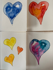 Hearts in a Box - 20 Hand Painted Greeting Cards