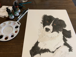 A3 Single Pet Portrait Commission