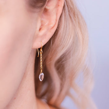 Gold plated crystal quarts earrings. Alexis Kate Jewellery