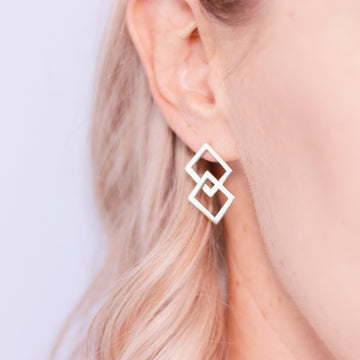 sterling silver geometric square earrings Ruby