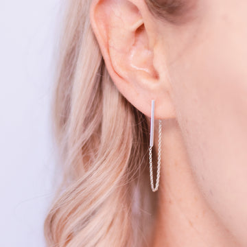 lexi sterling silver chain behind the ear earrings alexis kate jewellery