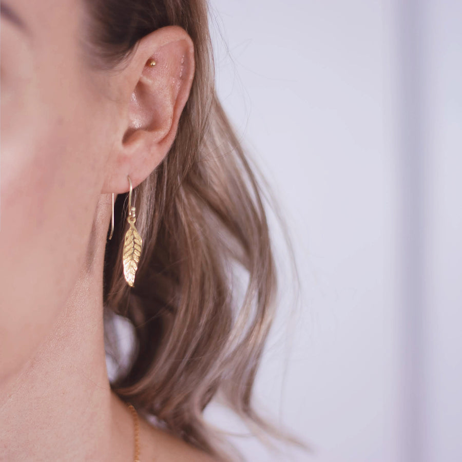 Gold plated leaf earrings Alexis Kate Jewellery