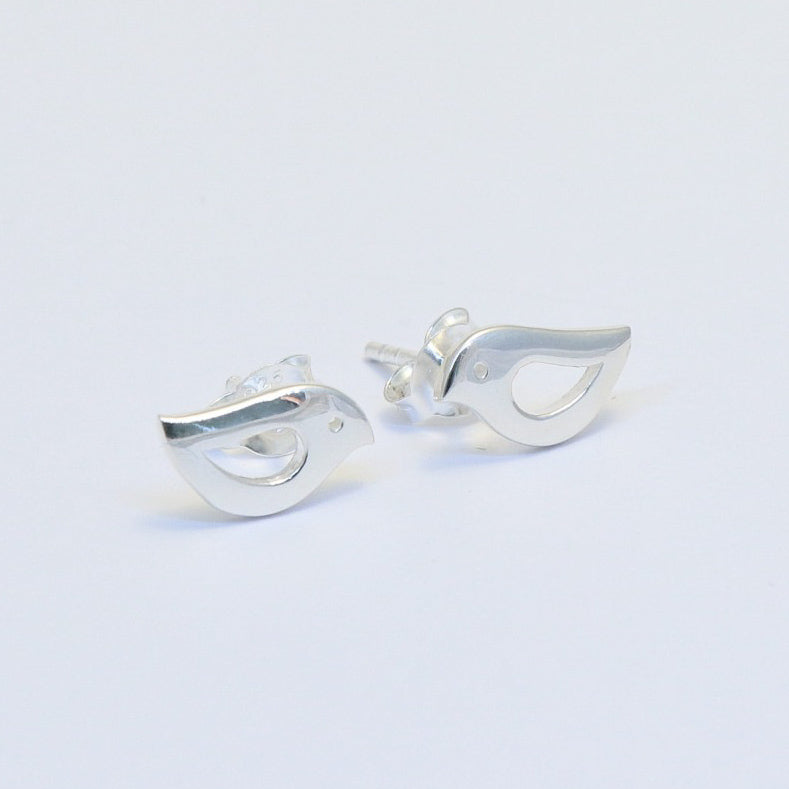 Sterling silver bird stud earrings Poppy