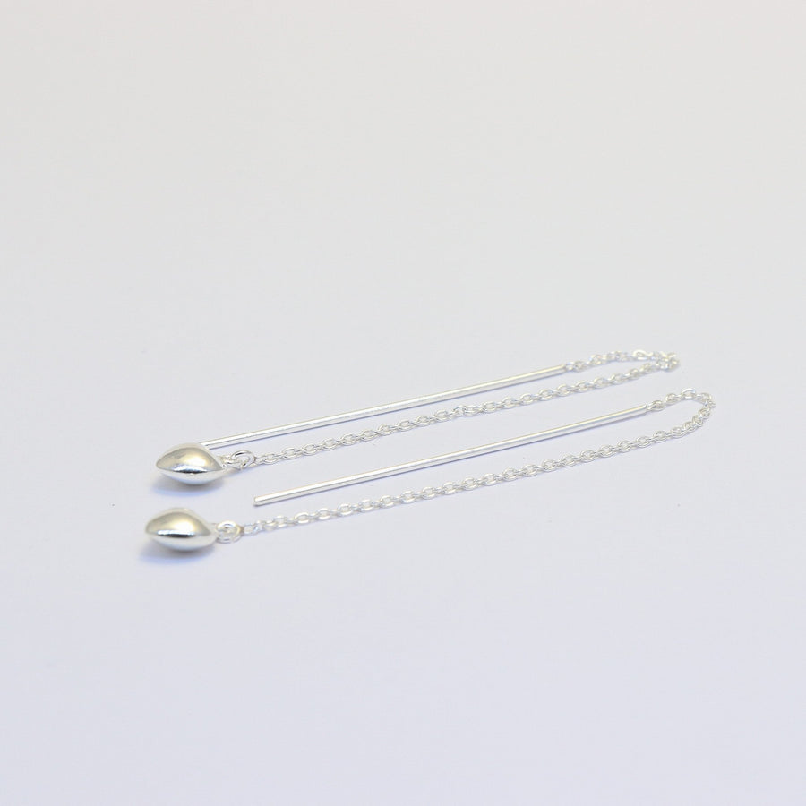 sterling silver chain and heart threader earrings Kim