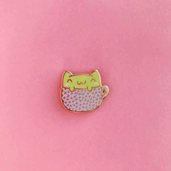 The Pink Samurai Pin Club Matcha Cat Enamel Pin