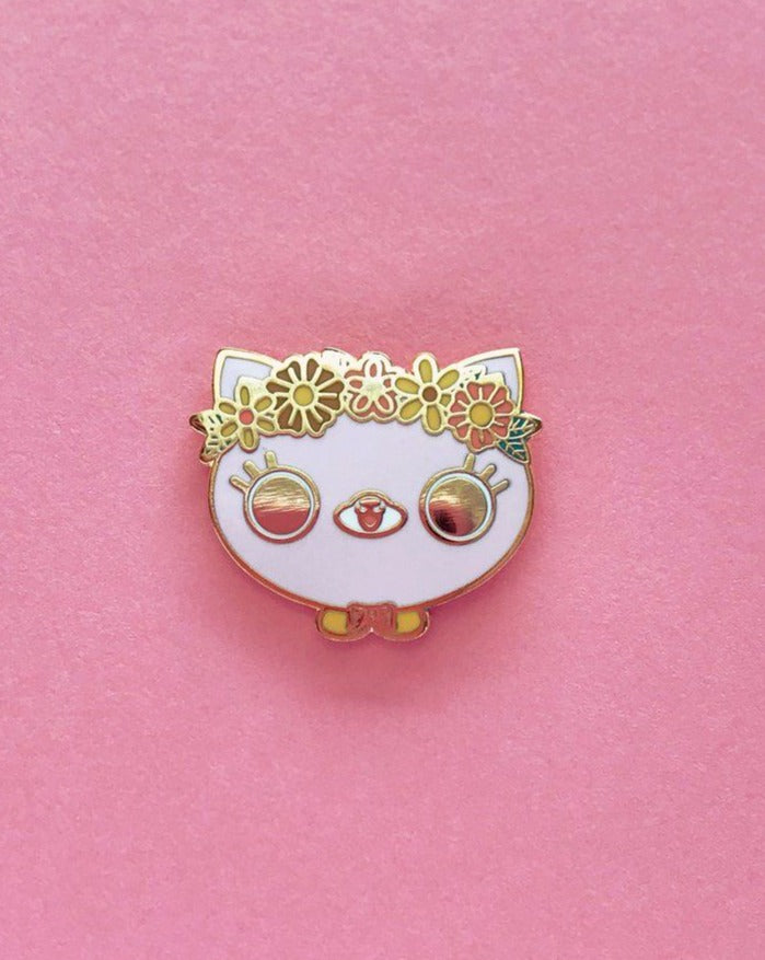 Flower Crown Cat Enamel Pin • Bored Inc + The Pink Samurai