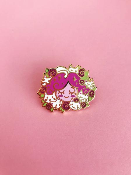 Kitten Nymph Enamel Pin • Kelsey Cretcher + The Pink Samurai