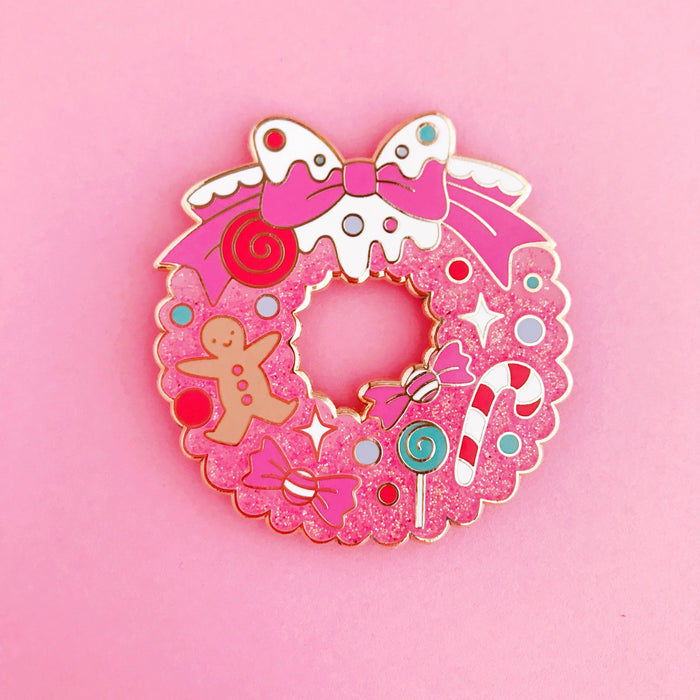 Christmas Wreath • 2 Inch Giant Glitter Lapel Pin • Limited Edition - Enamel Pin - The Pink Samurai