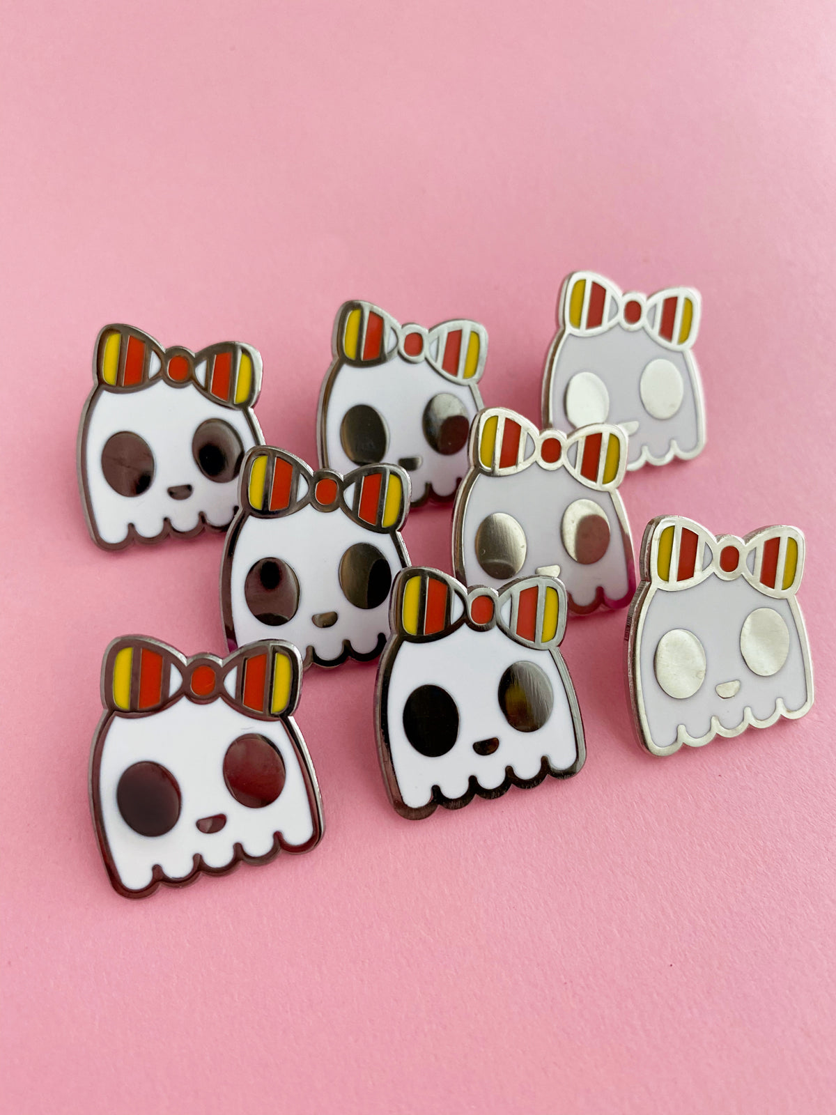 Halloween Ghosts with Candy Corn Bows Enamel Pin - Limited Edition
