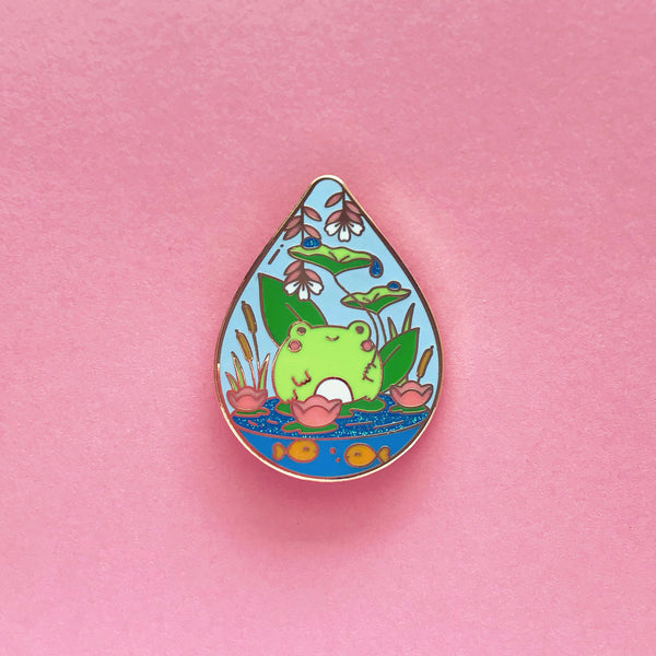 Droplet Terrarium Enamel Pin • Mochichito + The Pink Samurai - Enamel Pin - The Pink Samurai