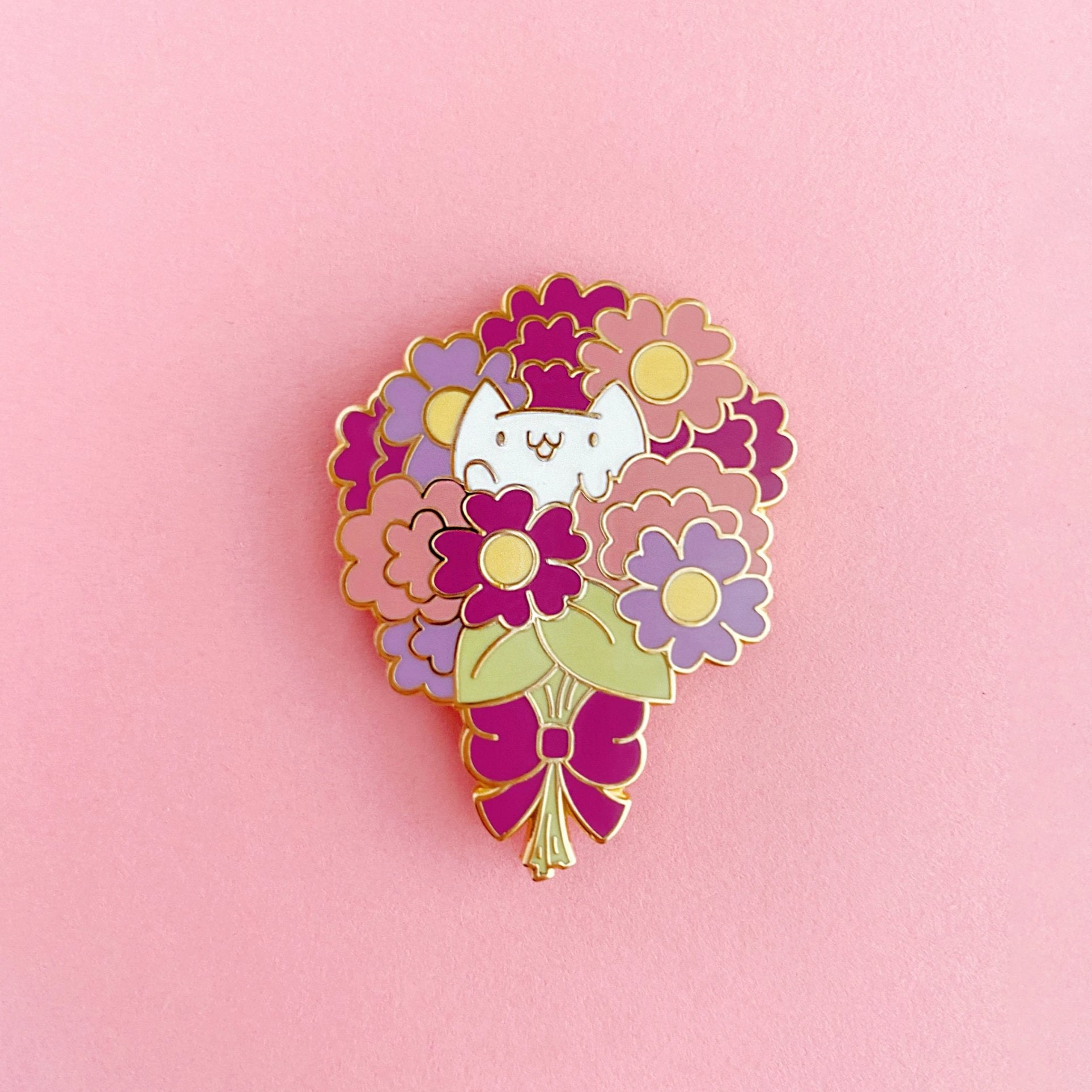 Flower Kittens Bouquet Enamel Pin - Enamel Pin - The Pink Samurai