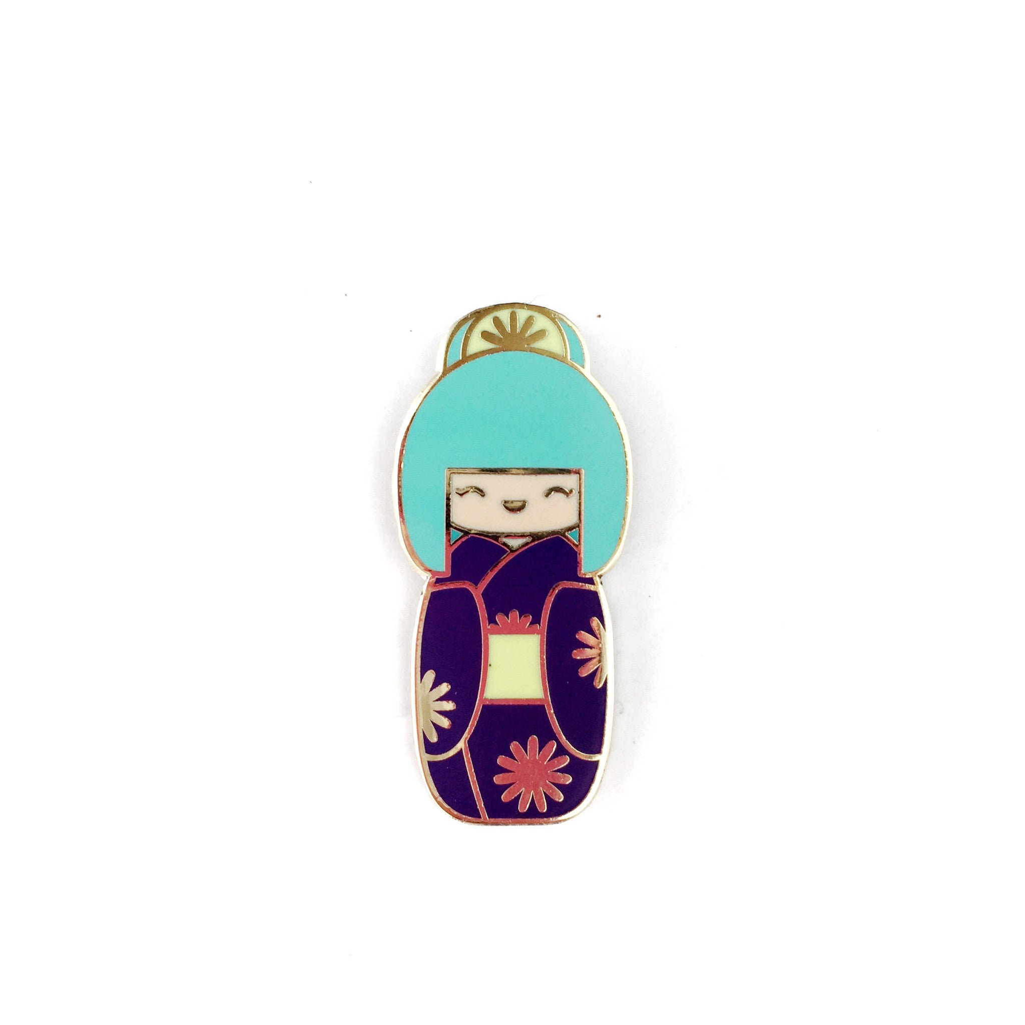 Kokeshi Doll Enamel Pin • Traditional Teal Bun - Enamel Pin - The Pink Samurai