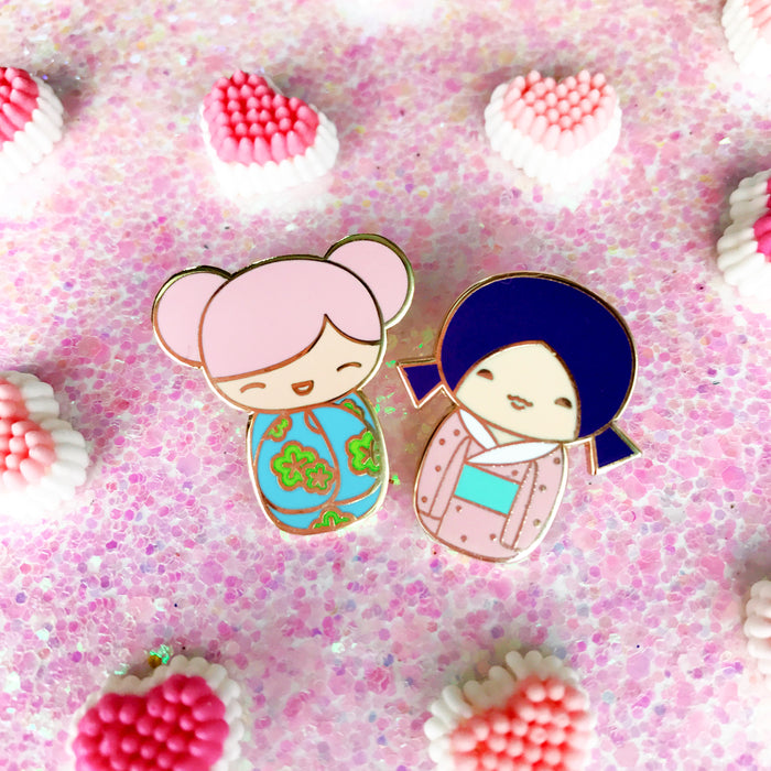 Kokeshi Doll Enamel Pin • Kawaii Pink - Enamel Pin - The Pink Samurai