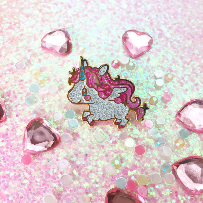 Glittery Unicorn Pegasus Enamel Pin • MIS0HAPPY + The Pink Samurai - Enamel Pin - The Pink Samurai