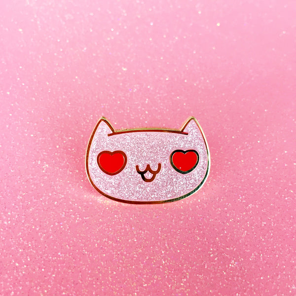 Heart Eyes Cat Enamel Pin - Enamel Pin - The Pink Samurai