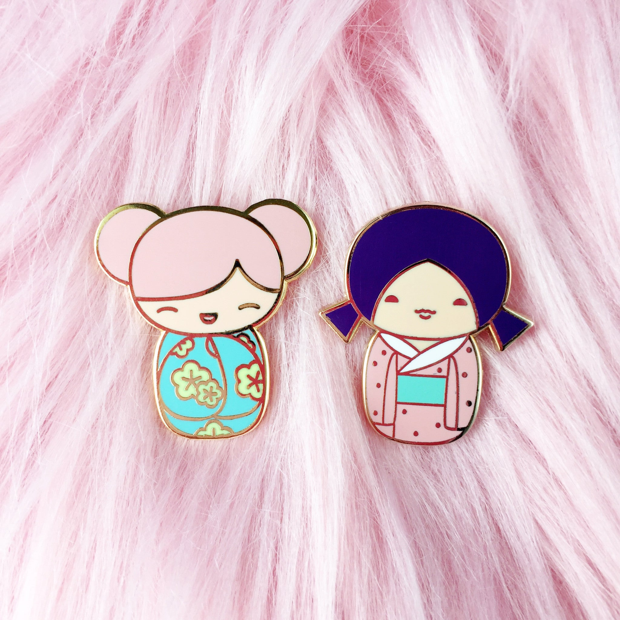 Kokeshi Doll Enamel Pin • Kawaii Purple - Enamel Pin - The Pink Samurai
