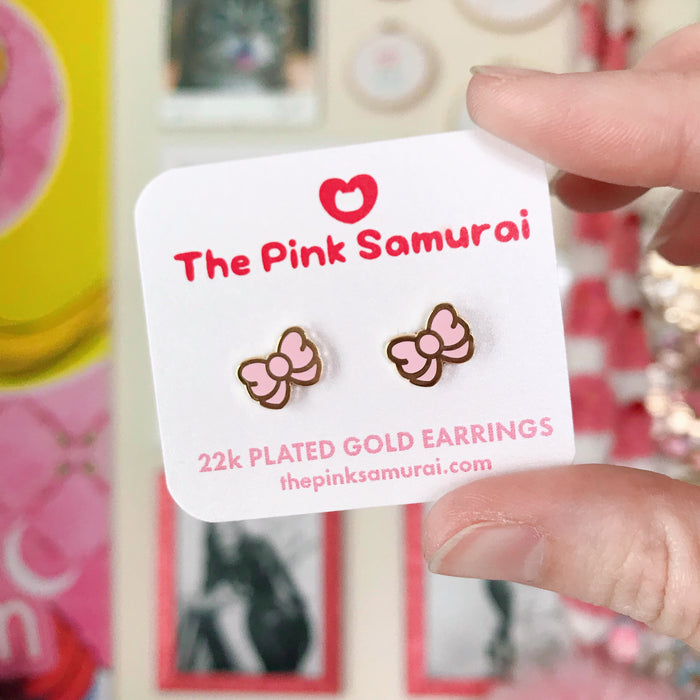 Bow Earrings • Black - Jewelry - The Pink Samurai