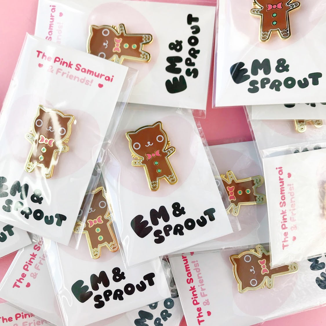 Gingerbread Cat Enamel Pin • Em & Sprout + The Pink Samurai