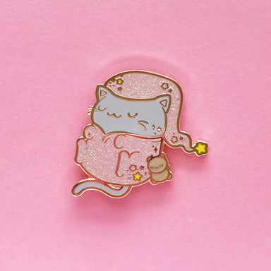 Sleepy Kitty Enamel Pin • Sharodactyl Art + The Pink Samurai • Pink Glitter - Enamel Pin - The Pink Samurai