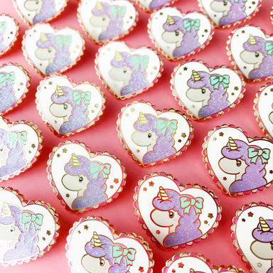 Unicorn Love Glitter Enamel Pin • Unicorn Crafts + The Pink Samurai - Enamel Pin - The Pink Samurai