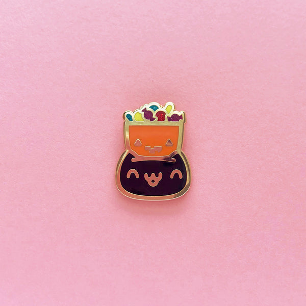 Halloween Black Cat Trick-or-Treater • Lapel Pin