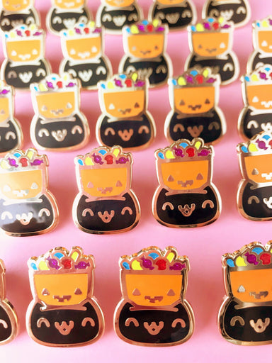 Halloween Black Cat Trick-or-Treater Enamel Pin - Enamel Pin - The Pink Samurai